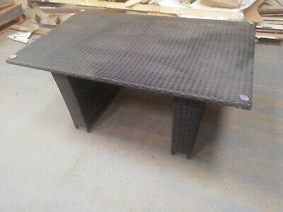 Black Rectangular Rattan Garden Table
