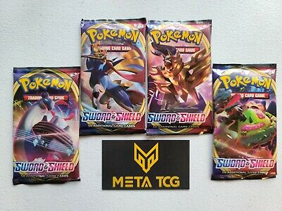 4x Sword & Shield Booster Packs 1 Of Each Pack Art! Official Pokemon -