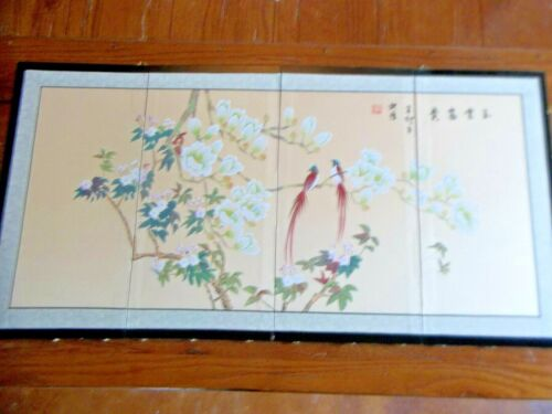 Folding 4 Panels Oriental Watercolor Silk Screen Signed Picture