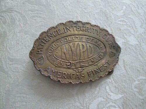New York Police Department brass belt buckle 1950
