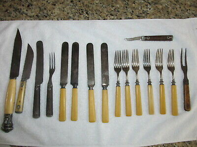 E.C. SIMMONS KEEN KUTTER CELLULOID HANDLE KNIVES AND FORKS- SS. W/2 IVORY KNIVES