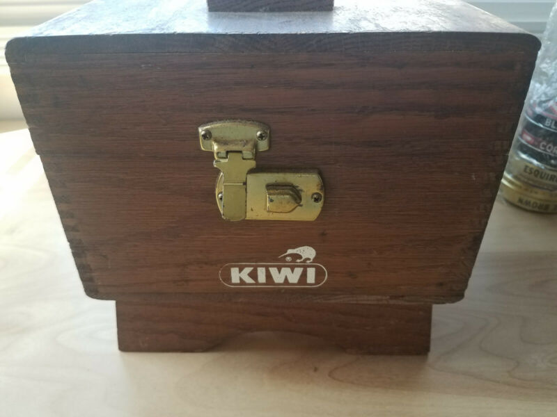 Vintage Kiwi Wooden Shoe Valet Shine Box & Brushes