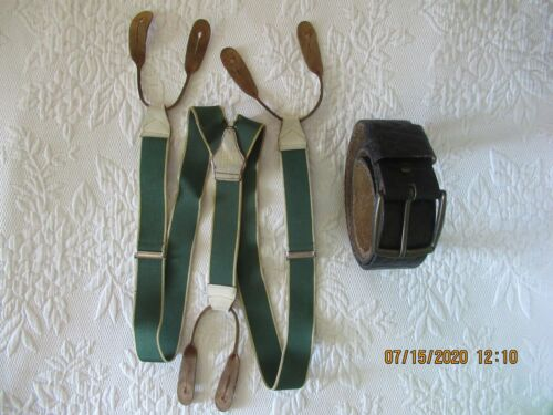 "VINTAGE COW HIDE LEATHER BELT 38"" and Braces Suspenders England"