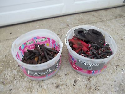 Farmall Ih Bn B C Tractor Box Of Misc Ihc Bolts Nuts Parts Pieces Bracket Clamps