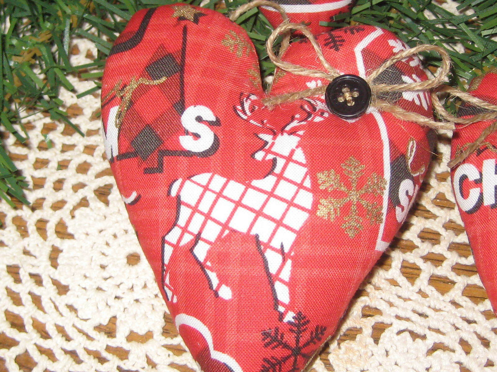 Country Christmas Decor 6 Red Hearts Reindeer Fabric Handmade Tree Ornaments - $21.95
