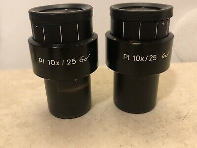 Pair Of Zeiss 44 40 34 Pl 10x 10x25 Goggle Microscope Eyepieces 444034