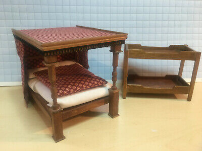 Dolls House Vintage Furniture 1/24 Double Poster And Bunk Bed