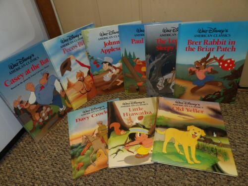 9 Walt Disney American Classics Books Brer Rabbit, Paul Bunyan, Casey, Davey