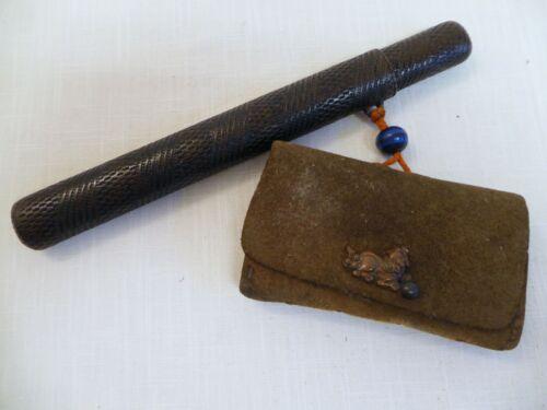 Vintage Japanese Tobacco Pouch and Kiseru Pipe Case (Kiseruzutsu)