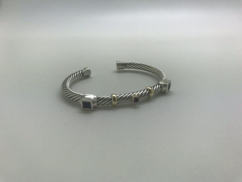 David Yurman 925 14k Citrine Garnet Amethyst Renaissance Confetti Cable Bracelet