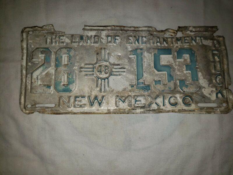Vintage 1948 New Mexico License Plate Truck vintage original