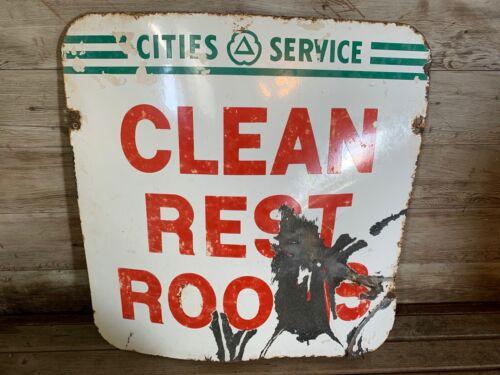 Vintage Original Double Sided Porcelain Cities Service Clean Rest Rooms Sign.