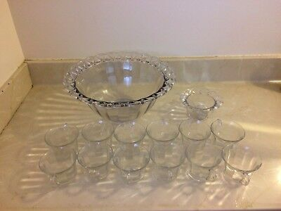 Imperial Glass Co. Laced Edge/Crocheted Punch Bowl & 12 Cups with Sugar Bowl