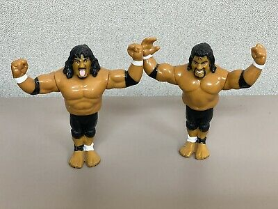 Vintage WWF Hasbro Headshrinkers Fatu & Samu Action Figures 1994 ACTION WORKING!