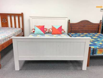 DELIVERY TODAY STRONG WHITE WOODEN Queen bed & mattress SALE