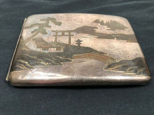 Sterling Silver Japanese Cigarette Case  With Inlay