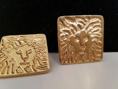 "Anne Klein Logo Lion Head SQUARE Earrings Pierced  1-1/16"" A-11"