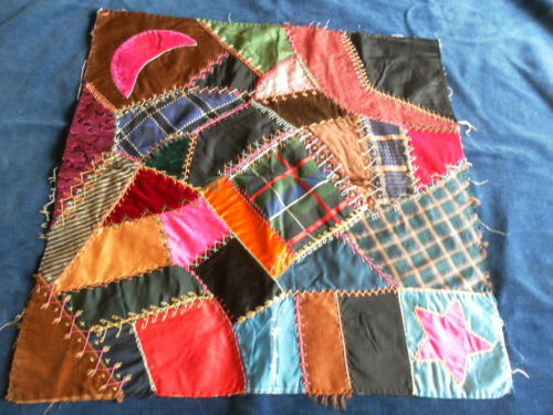 ANTIQUE CRAZY QUILT SQUARE BLOCK EMBROIDERY MOON STAR