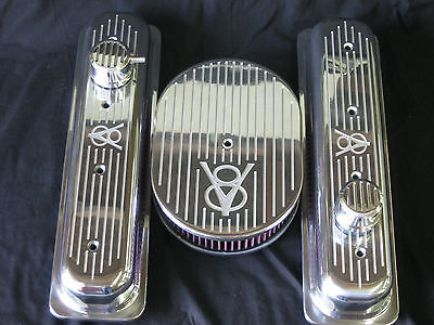 Custom Old V8 Ford Design Chevy Center Bolt LT1 Small Block Valve Covers Set