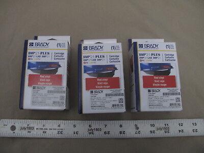 3 New Brady Label Cartridge M21-500-595-rd White On Red Vinyl 12 X 21 Bmp21
