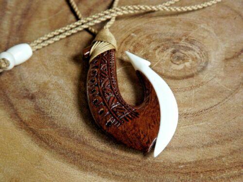 """Hawaiian 3"""" Koa Wood Bone Fish Hook Necklace Choker With Adjustable Cord"""