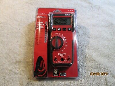 Brand New Milwaukee 2216-20 Multimeter Cat Iii 600 Volt 10 Amp With Leads Rms