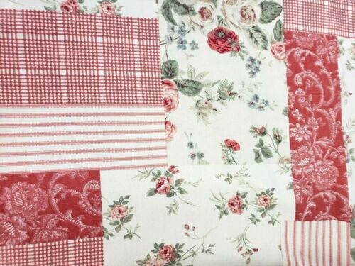 Richloom screen print Floral Shabby Cottage Core Upholstery Fabric 2 yards x 55""