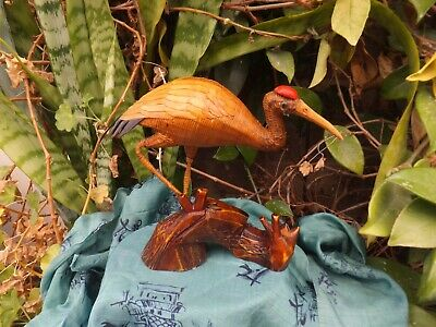 Antique Chinese Crane Bird Made Of Bamboo Red Crest on Head Long Life Symbol