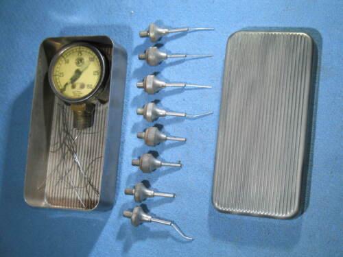Vintage Chicago Pneumatic Tool Marsh Needle Pressure Gauge in Original Case