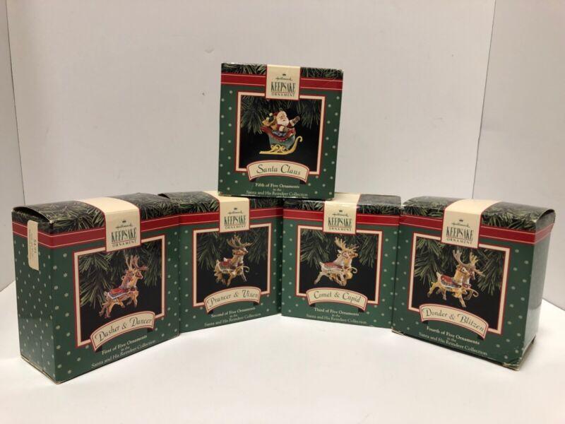 VTG HALLMARK Keepsake Ornaments SANTA AND HIS REINDEER 1992 COMPLETE SET BOXES