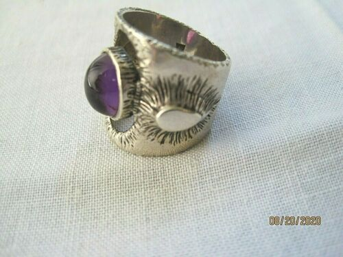 Modernist/brutalist sterling silver and amethyst ring