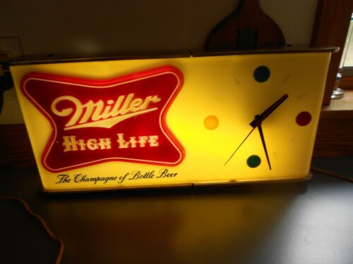 VINTAGE MILLER HIGH LIFE SIGN WITH CLOCK NO C 55340