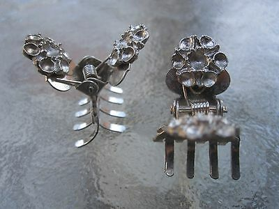 - Vintage 2 Ea Mini Flower Claw Clips Silver Colored Metal -10 Tooth Made in USA
