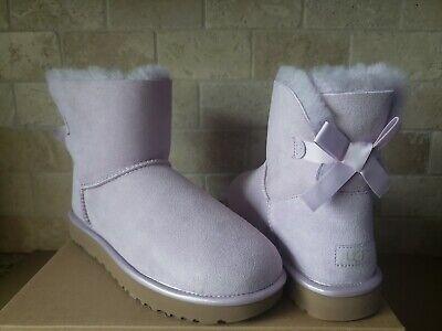 UGG MINI BAILEY BOW II METALLIC LAVENDER FOG PURPLE SUEDE BOOTS SIZE US 8 WOMENS - Purple Bow Ugg Boots