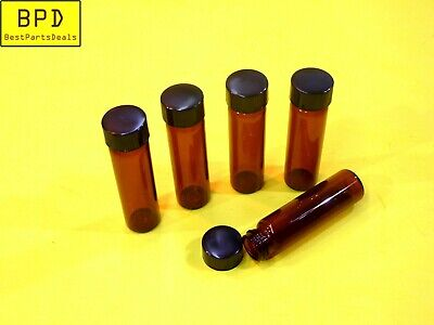 5x Amber Glass Vial 17x60 Mm 2 Dram 7.4 Ml Thread Cap Fisherbrand 03-339-23c