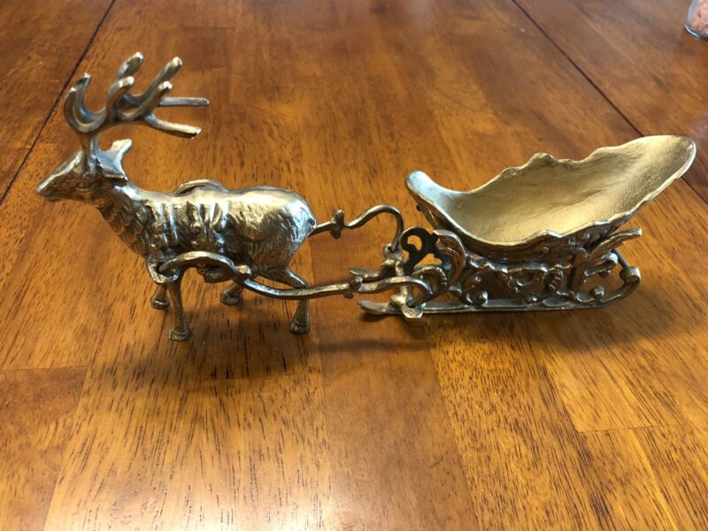 The Bombay Company 1993 Vintage Brass Christmas Reindeer with Sleigh 1167104