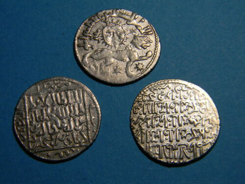 Seljuq Dynasty (3) Silver Seljuk Sultanate of Rum Dirham coin lot  (01146)