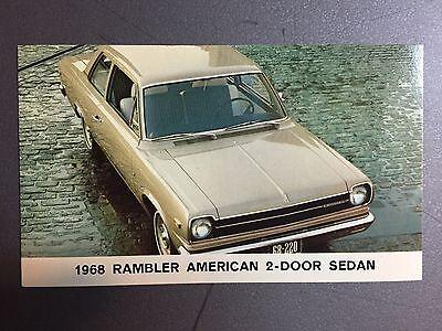 1968 AMC American Motors Rambler American 2-Door Sedan Postcard RARE!!