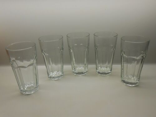 """Anchor Hocking 8 Panel 7"""" Tumblers Drinking Glasses Clear - Set of 5 - Excellent"""