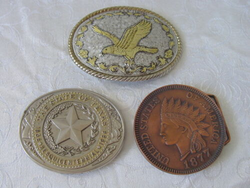 3 Vintage Belt Buckles / Indian Head Penny - Texas Sesquicentennial - Eagle
