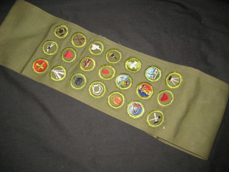 21 Crimped Edge Folded Under Merit Badges on Sash  EB01