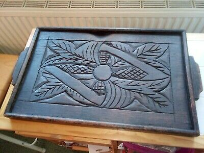 Antique  Carved Oak Tray