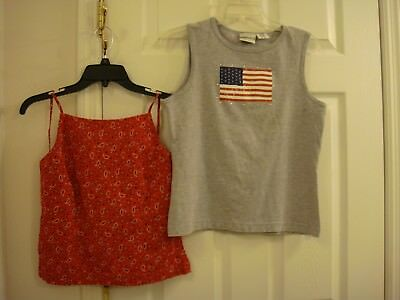 Womens  Lot of 2 Fashion Bug Sleeveless USA Flag T-Shirt Red Bandana Halter Sz M
