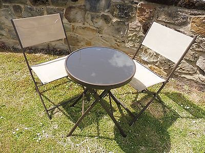 BROWN 3 Piece Garden Furniture Metal Patio Bistro Set For 2 Folding Chairs Table