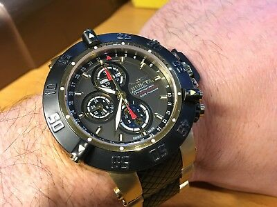 INVICTA #4549 BLK/GOLD SUBAQUA III AUTOMATIC 7751 VALJOUX MOON PHASE 500 MADE