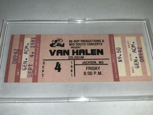 VAN HALEN 1981 UNUSED CONCERT TICKET JACKSON MISSISSIPPI EDDIE DAVID LEE ROTH