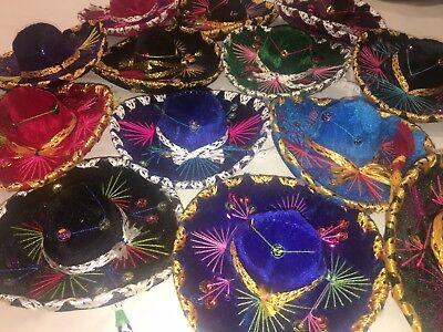 """Mexican Sombrero Set of 5 Mini Charro Hats Fiesta Decorations Or Pet Hat 6"""" - Mini Sombrero Hats"""
