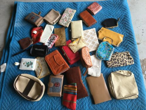 Lot of 30 Vintage Antique Billfolds Wallets Coin Purses