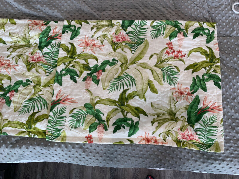 (2) Tommy Bahama Home Quilted Floral Pillow Shams