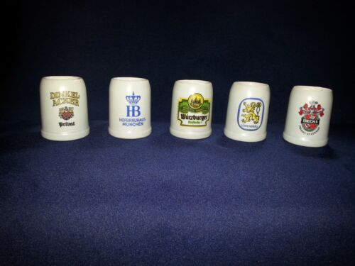 Set of 5 Miniature Collectible German Beer Steins Mugs